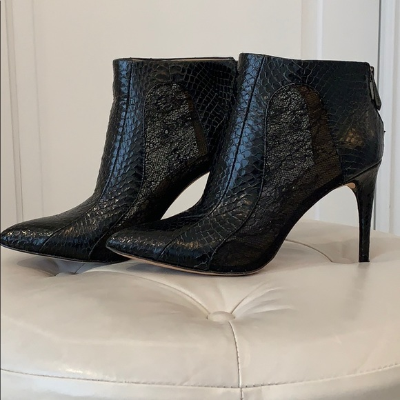 BCBG Cleo Snake-Embossed Lace Combo Day Bootie